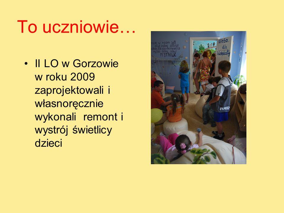 To uczniowie… II LO w Gorzowie w roku 2009 zaprojektowali i własnoręcznie wykonali remont i wystrój świetlicy dzieci