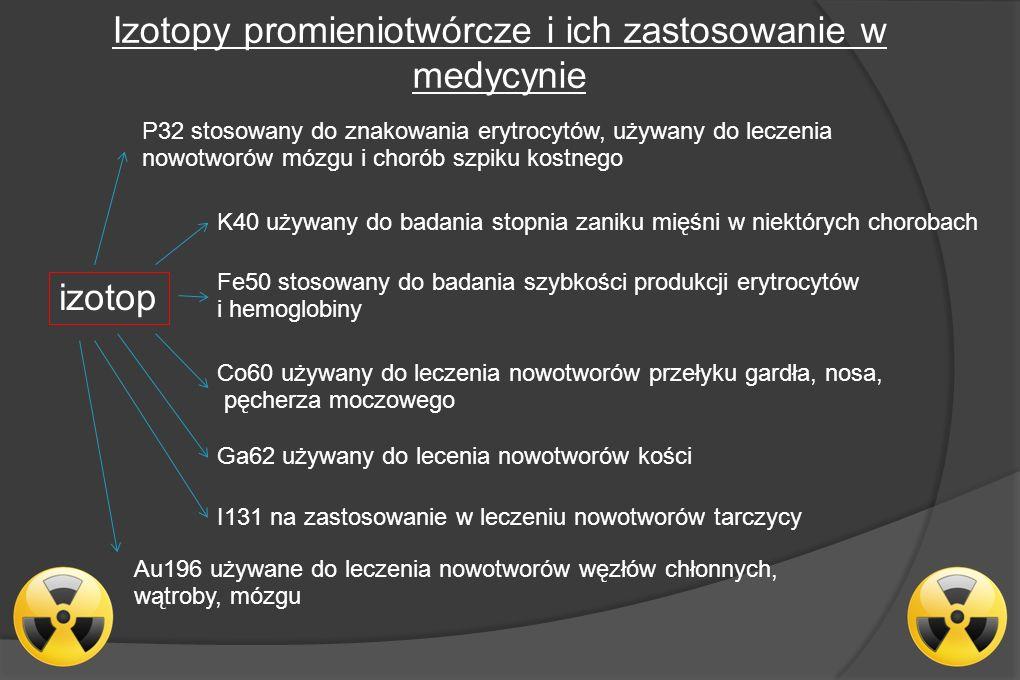Izotopy promieniotwórcze i ich zastosowanie w medycynie izotop P32 stosowany do znakowania erytrocytów, używany do leczenia nowotworów mózgu i chorób szpiku kostnego K40 używany do badania stopnia zaniku mięśni w niektórych chorobach Fe50 stosowany do badania szybkości produkcji erytrocytów i hemoglobiny Co60 używany do leczenia nowotworów przełyku gardła, nosa, pęcherza moczowego Ga62 używany do lecenia nowotworów kości I131 na zastosowanie w leczeniu nowotworów tarczycy Au196 używane do leczenia nowotworów węzłów chłonnych, wątroby, mózgu