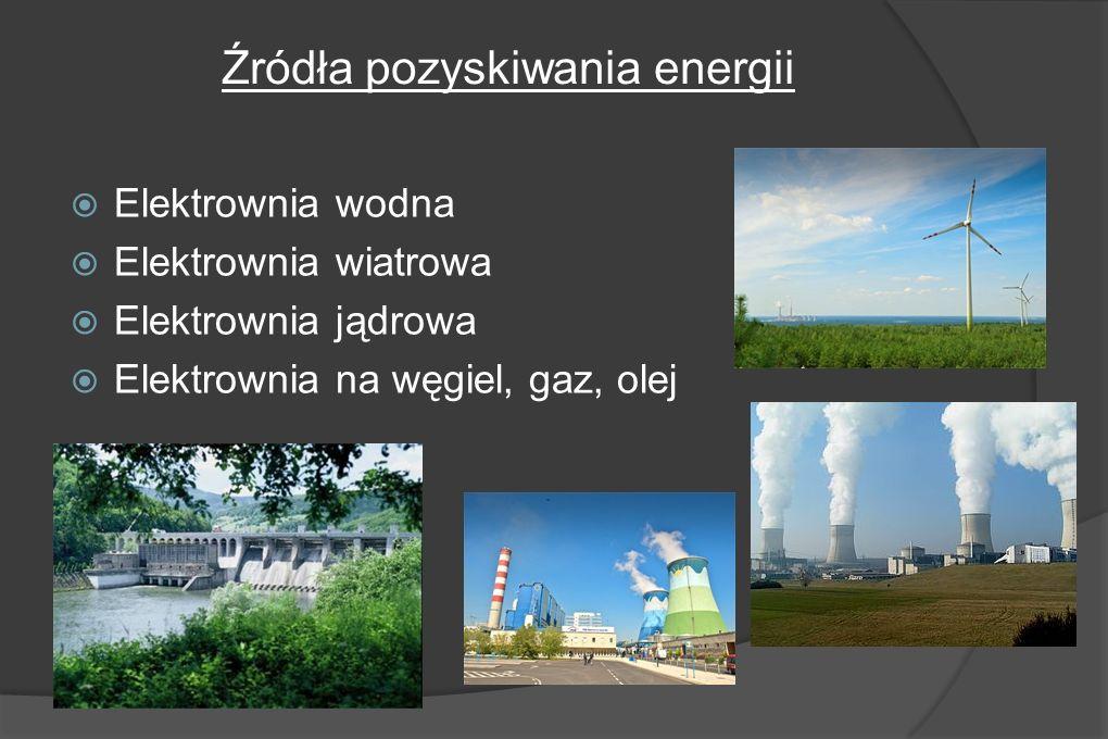 Źródła pozyskiwania energii Elektrownia wodna Elektrownia wiatrowa Elektrownia jądrowa Elektrownia na węgiel, gaz, olej