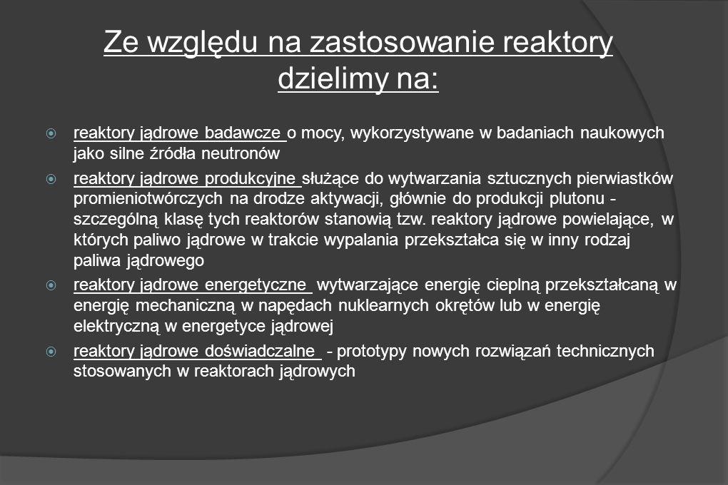 reaktory jądrowe badawcze o mocy, wykorzystywane w badaniach naukowych jako silne źródła neutronów reaktory jądrowe produkcyjne służące do wytwarzania sztucznych pierwiastków promieniotwórczych na drodze aktywacji, głównie do produkcji plutonu - szczególną klasę tych reaktorów stanowią tzw.