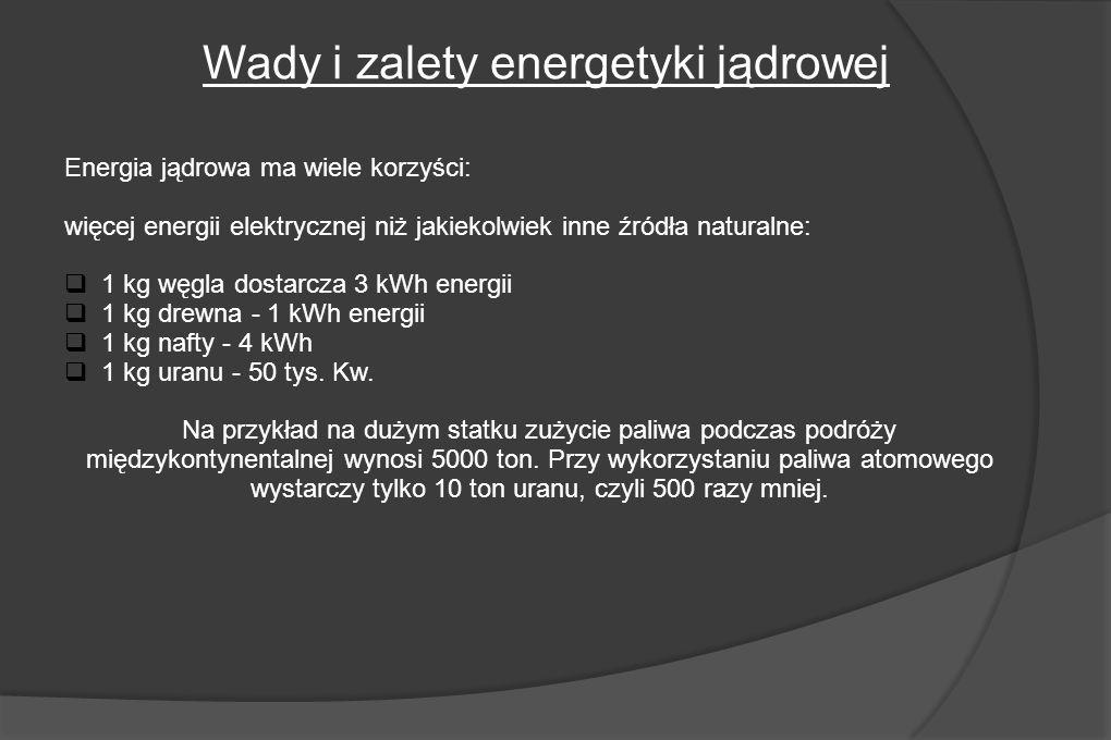 Energia jądrowa ma wiele korzyści: więcej energii elektrycznej niż jakiekolwiek inne źródła naturalne: 1 kg węgla dostarcza 3 kWh energii 1 kg drewna - 1 kWh energii 1 kg nafty - 4 kWh 1 kg uranu - 50 tys.