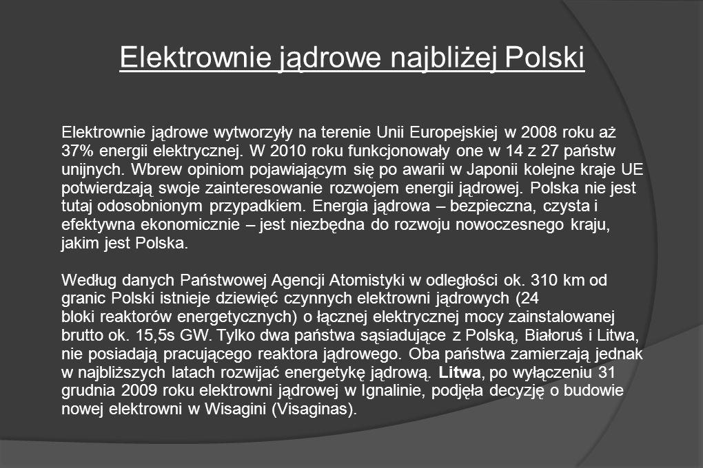 Elektrownie jądrowe wytworzyły na terenie Unii Europejskiej w 2008 roku aż 37% energii elektrycznej.