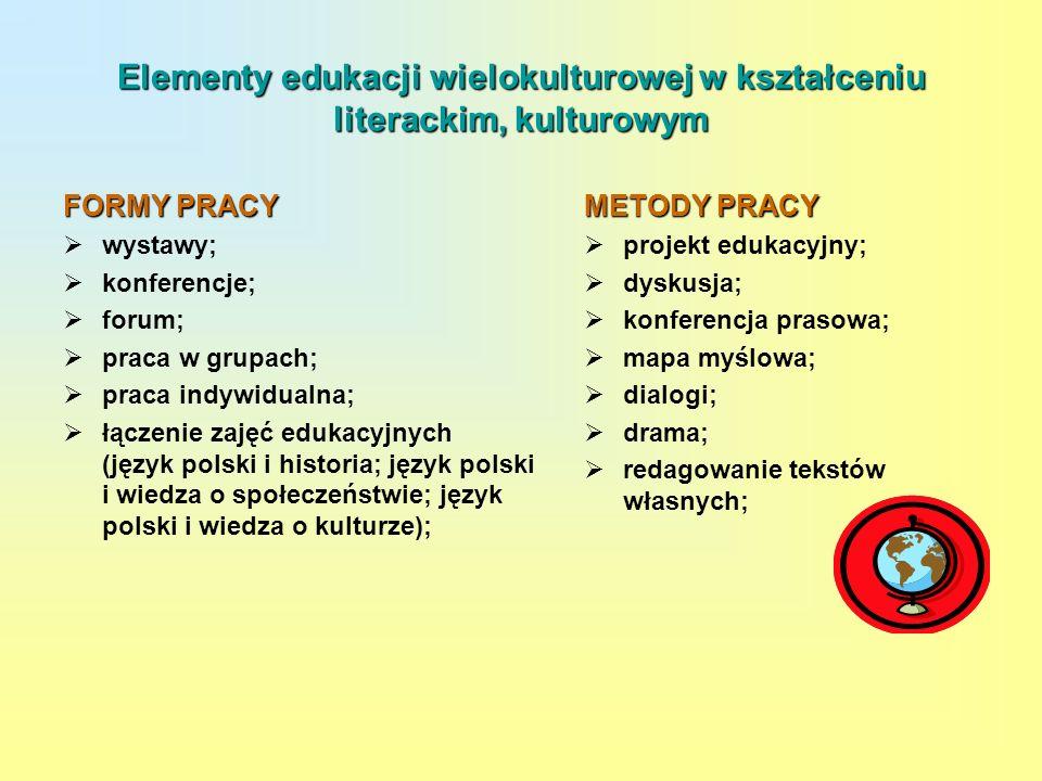 Elementy edukacji wielokulturowej w kształceniu literackim, kulturowym FORMY PRACY wystawy; konferencje; forum; praca w grupach; praca indywidualna; ł