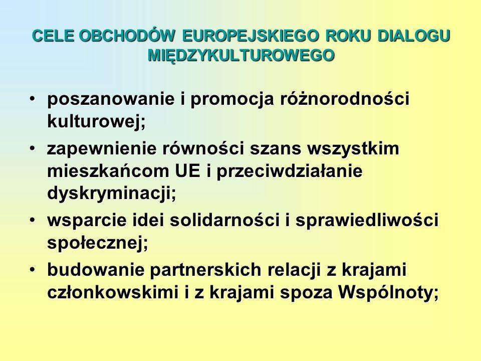 CELE OBCHODÓW EUROPEJSKIEGO ROKU DIALOGU MIĘDZYKULTUROWEGO poszanowanie i promocja różnorodności kulturowej;poszanowanie i promocja różnorodności kult