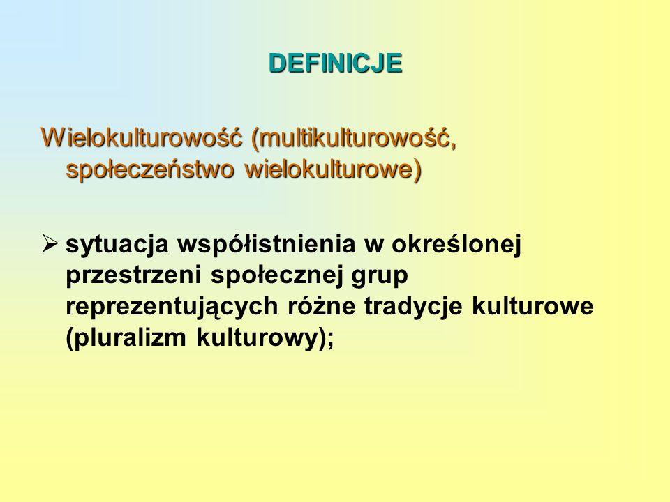 DEFINICJE Wielokulturowość (multikulturowość, społeczeństwo wielokulturowe) sytuacja współistnienia w określonej przestrzeni społecznej grup reprezent