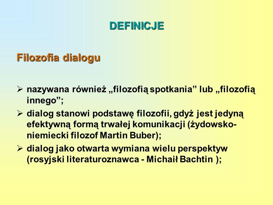 DEFINICJE Filozofia dialogu nazywana również filozofią spotkania lub filozofią innego; dialog stanowi podstawę filozofii, gdyż jest jedyną efektywną f