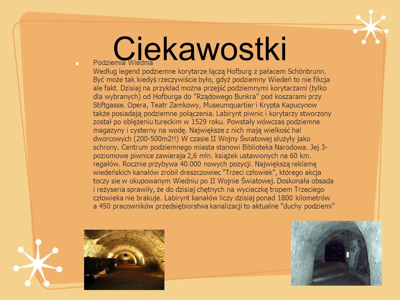 Podziemia Wiednia Według legend podziemne korytarze łączą Hofburg z pałacem Schönbrunn. Być może tak kiedyś rzeczywiście było, gdyż podziemny Wiedeń t