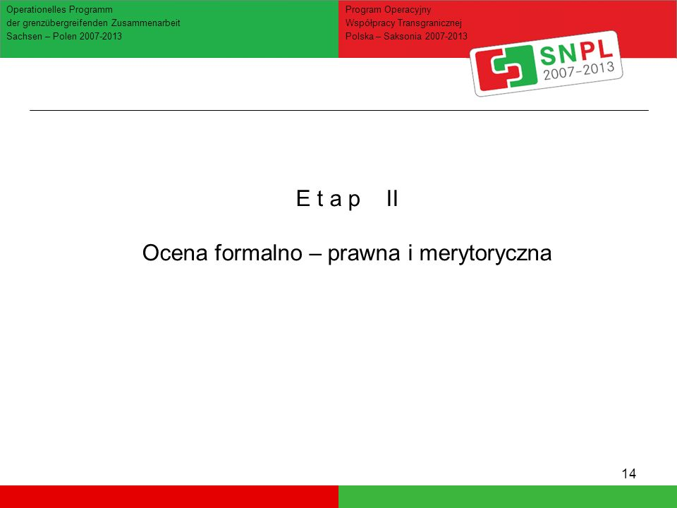 14 Operationelles Programm der grenzübergreifenden Zusammenarbeit Sachsen – Polen 2007-2013 Program Operacyjny Współpracy Transgranicznej Polska – Sak