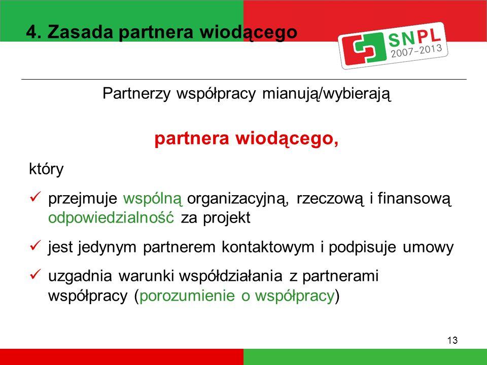 13 Partnerzy współpracy mianują/wybierają partnera wiodącego, który przejmuje wspólną organizacyjną, rzeczową i finansową odpowiedzialność za projekt jest jedynym partnerem kontaktowym i podpisuje umowy uzgadnia warunki współdziałania z partnerami współpracy (porozumienie o współpracy) 4.