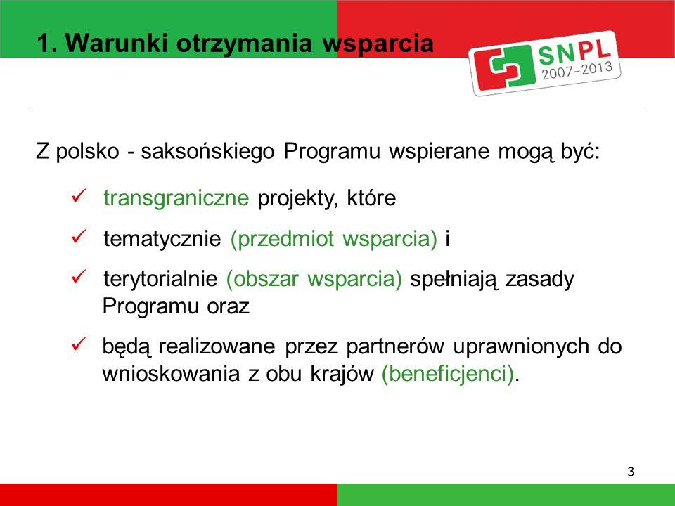 3 1. Warunki otrzymania wsparcia Z polsko - saksońskiego Programu wspierane mogą być: transgraniczne projekty, które tematycznie (przedmiot wsparcia)