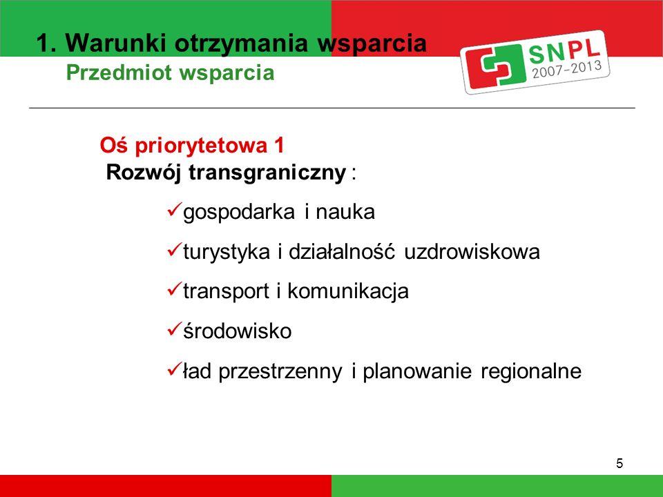 5 1. Warunki otrzymania wsparcia Przedmiot wsparcia Oś priorytetowa 1 Rozwój transgraniczny : gospodarka i nauka turystyka i działalność uzdrowiskowa