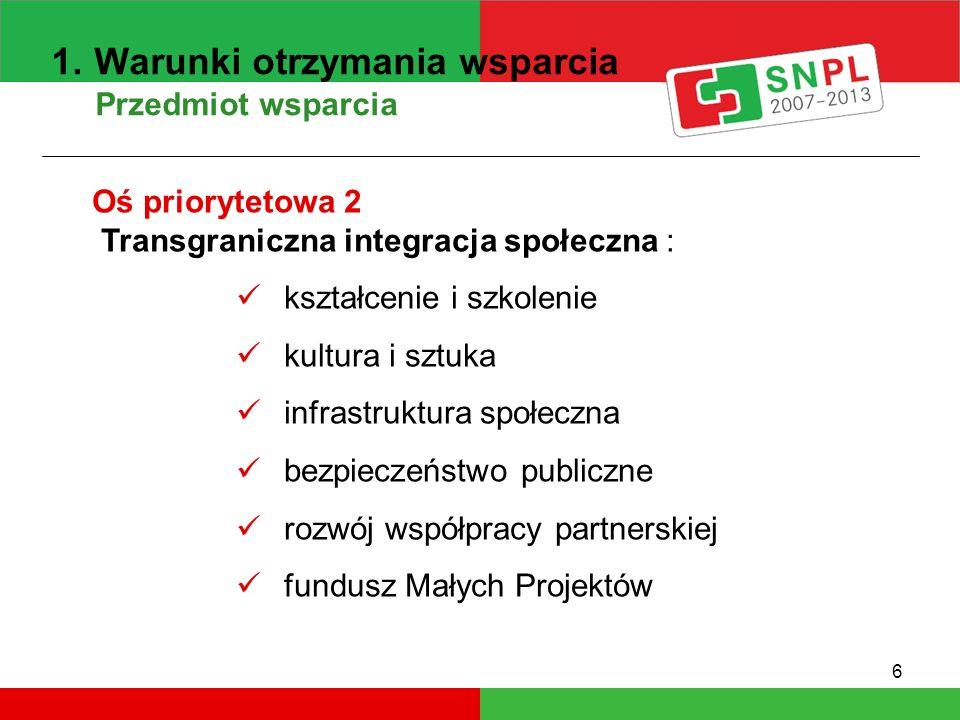 6 1. Warunki otrzymania wsparcia Przedmiot wsparcia Oś priorytetowa 2 Transgraniczna integracja społeczna : kształcenie i szkolenie kultura i sztuka i