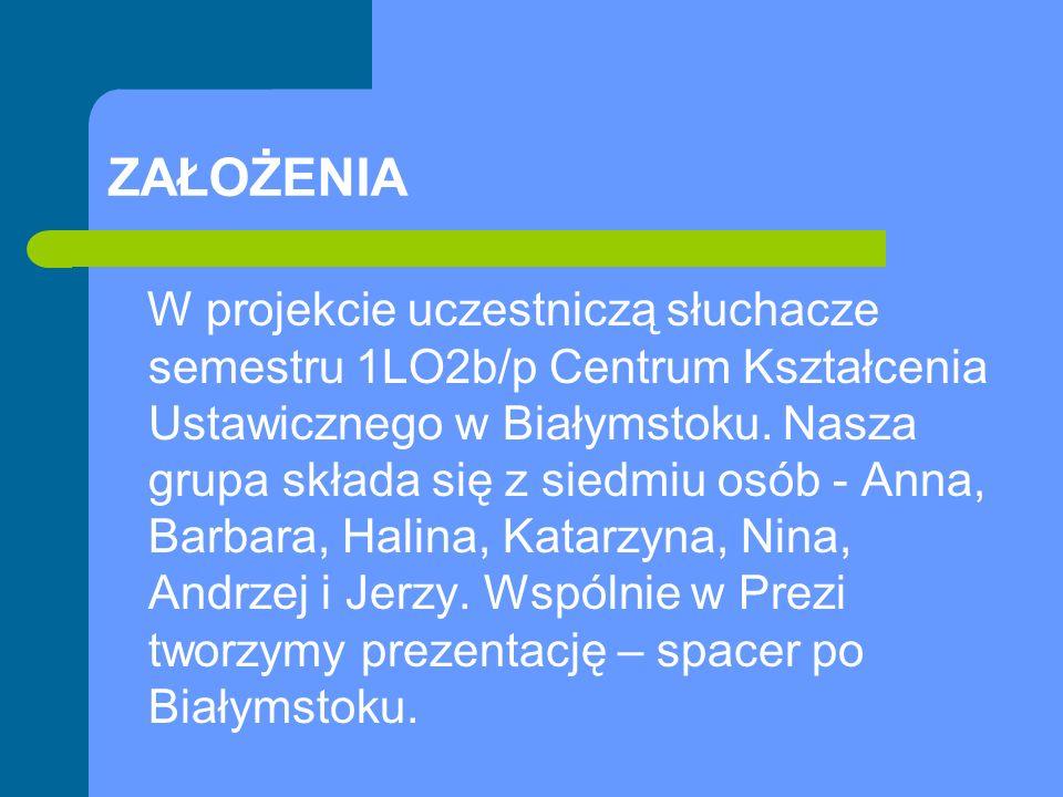 ZAŁOŻENIA W projekcie uczestniczą słuchacze semestru 1LO2b/p Centrum Kształcenia Ustawicznego w Białymstoku.