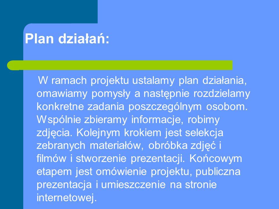 Plan działań: W ramach projektu ustalamy plan działania, omawiamy pomysły a następnie rozdzielamy konkretne zadania poszczególnym osobom.