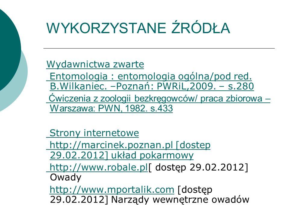 WYKORZYSTANE ŹRÓDŁA Wydawnictwa zwarte Entomologia : entomologia ogólna/pod red. B.Wilkaniec. –Poznań: PWRiL,2009. – s.280 Ćwiczenia z zoologii bezkrę