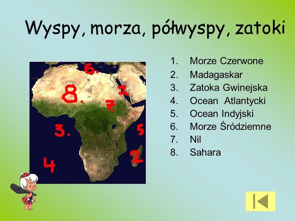 Wyspy, morza, półwyspy, zatoki 1.Morze Czerwone 2.Madagaskar 3.Zatoka Gwinejska 4.Ocean Atlantycki 5.Ocean Indyjski 6.Morze Śródziemne 7.Nil 8.Sahara