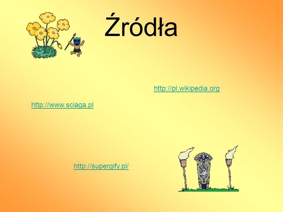 Źródła http://supergify.pl/ http://pl.wikipedia.org http://www.sciaga.pl