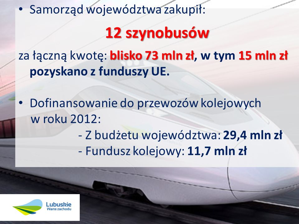 Ponad 40 mln zł z KRW Zakup taboru z homologacją niemiecką z wykorzystaniem m.in.