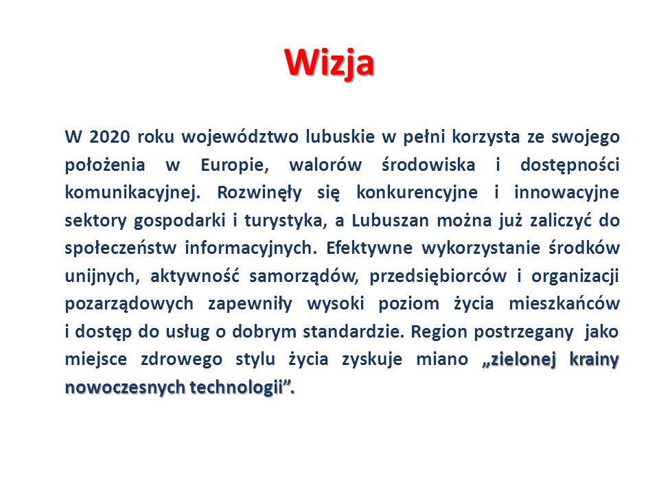 Cel główny: Wykorzystanie potencjałów województwa lubuskiego do wzrostu jakości życia, dynamizowania konkurencyjnej gospodarki, zwiększenia spójności regionu oraz efektywnego zarządzania jego rozwojem.