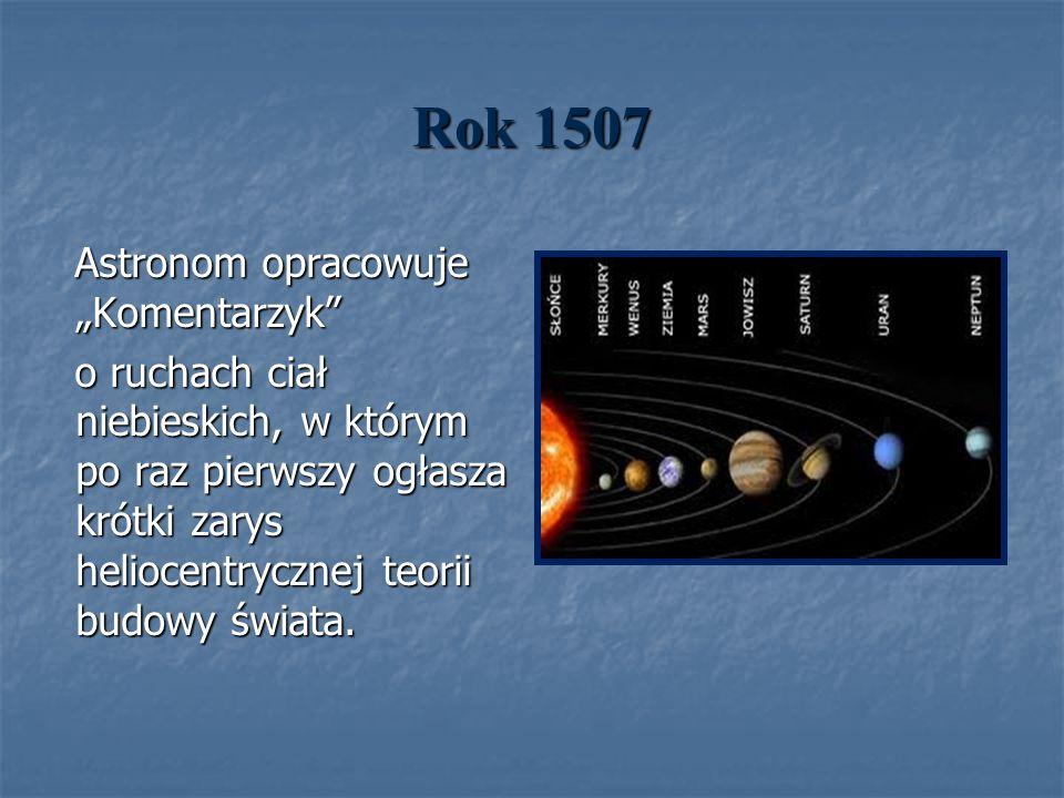 Rok 1507 Astronom opracowuje Komentarzyk Astronom opracowuje Komentarzyk o ruchach ciał niebieskich, w którym po raz pierwszy ogłasza krótki zarys hel