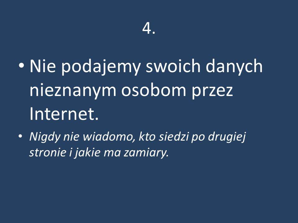 4. Nie podajemy swoich danych nieznanym osobom przez Internet.