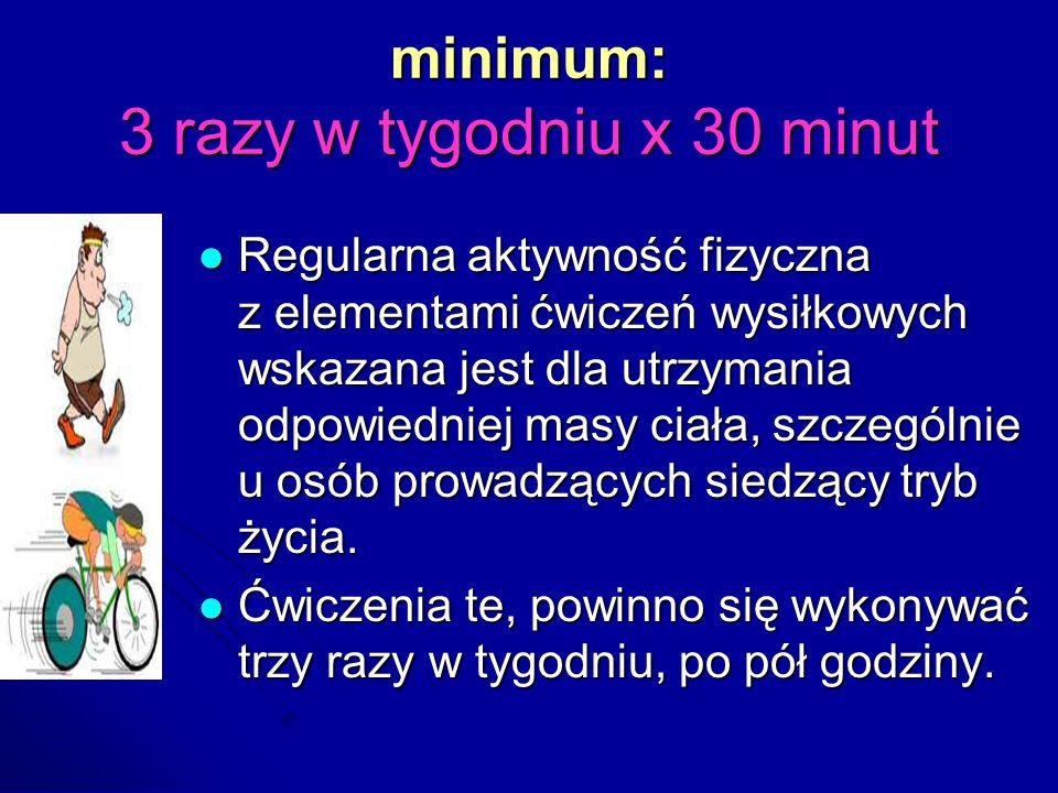 minimum: 3 razy w tygodniu x 30 minut Regularna aktywność fizyczna z elementami ćwiczeń wysiłkowych wskazana jest dla utrzymania odpowiedniej masy cia