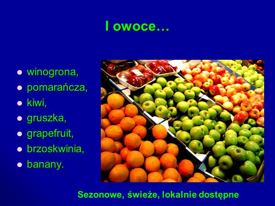 I owoce… winogrona, winogrona, pomarańcza, pomarańcza, kiwi, kiwi, gruszka, gruszka, grapefruit, grapefruit, brzoskwinia, brzoskwinia, banany. banany.