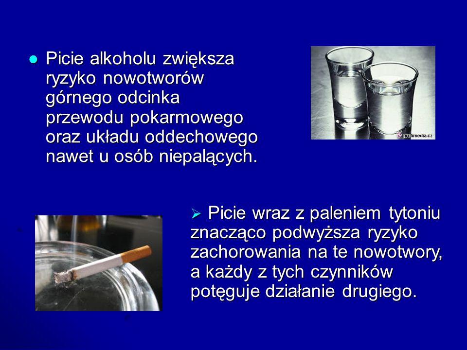 Picie alkoholu zwiększa ryzyko nowotworów górnego odcinka przewodu pokarmowego oraz układu oddechowego nawet u osób niepalących. Picie alkoholu zwięks