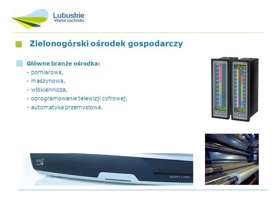 Zielonogórski ośrodek gospodarczy Główne branże ośrodka: - pomiarowa, - maszynowa, - włókiennicza, - oprogramowanie telewizji cyfrowej, - automatyka p