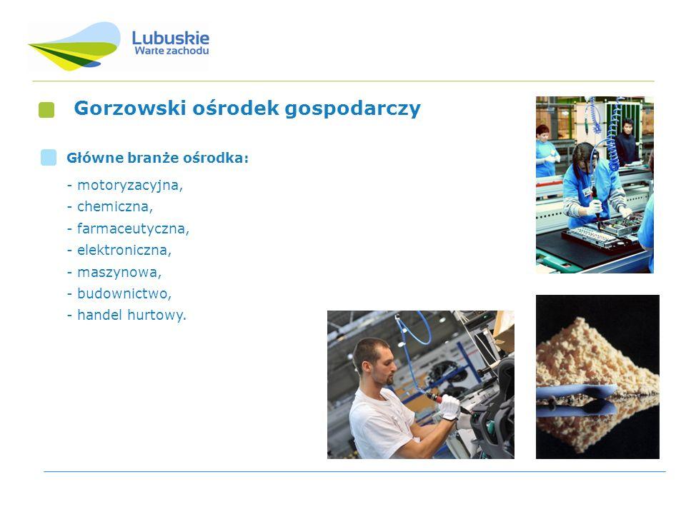 Gorzowski ośrodek gospodarczy Główne branże ośrodka: - motoryzacyjna, - chemiczna, - farmaceutyczna, - elektroniczna, - maszynowa, - budownictwo, - ha