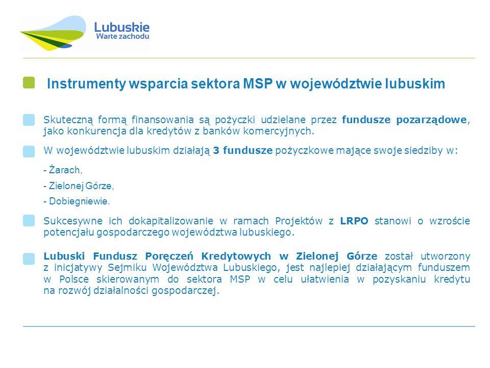 Instrumenty wsparcia sektora MSP w województwie lubuskim Skuteczną formą finansowania są pożyczki udzielane przez fundusze pozarządowe, jako konkurenc