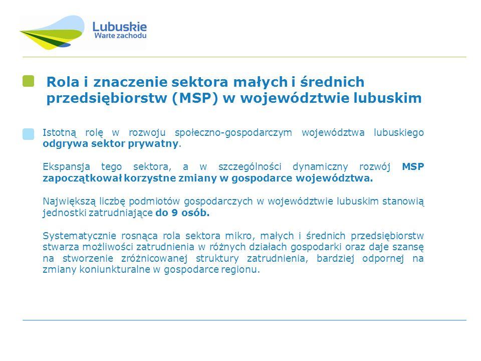 Sektor prywatny województwa lubuskiego Liczba podmiotów gospodarki narodowej 2009 102 900 (100%) W tym sektor prywatny 2009 98 400 (95,6%) 46,2% spółki cywilne 46,5% spółki z o.o.