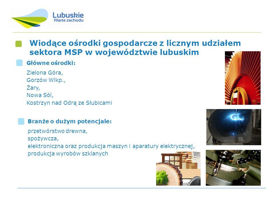 Wiodące ośrodki gospodarcze z licznym udziałem sektora MSP w województwie lubuskim Główne ośrodki: Zielona Góra, Gorzów Wlkp., Żary, Nowa Sól, Kostrzy