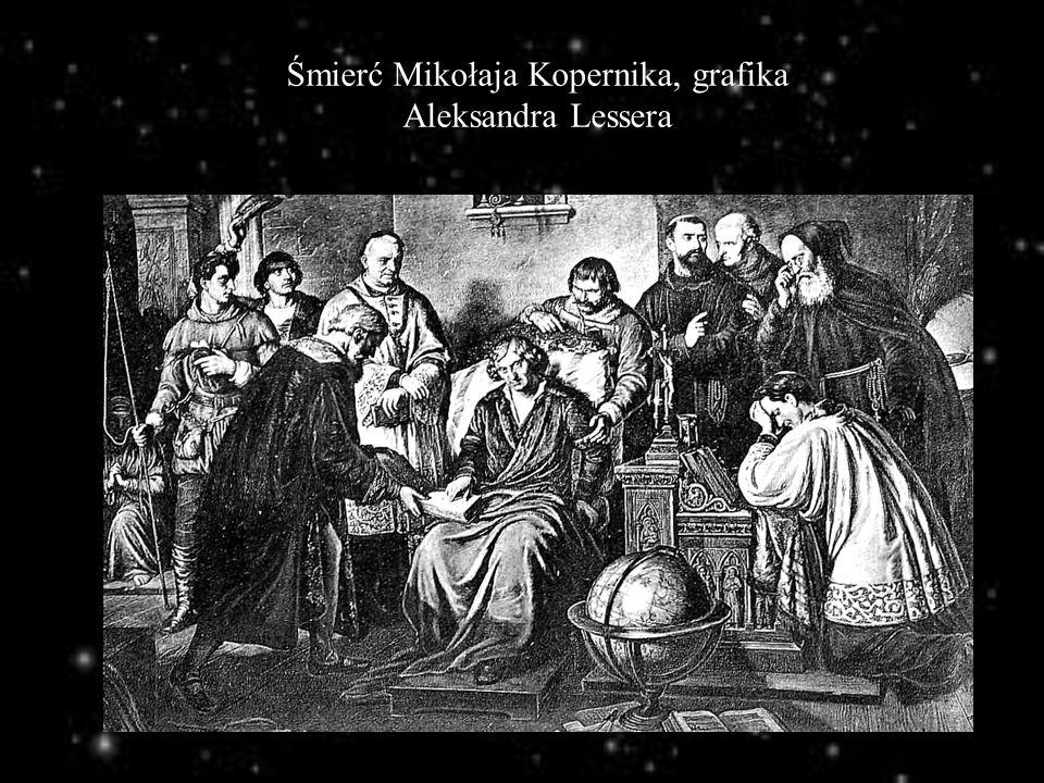 Śmierć Mikołaja Kopernika, grafika Aleksandra Lessera