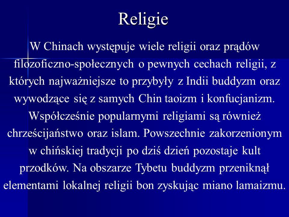 Religie W Chinach występuje wiele religii oraz prądów filozoficzno-społecznych o pewnych cechach religii, z których najważniejsze to przybyły z Indii