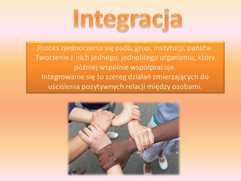 Proces zjednoczenia się osób, grup, instytucji, państw.