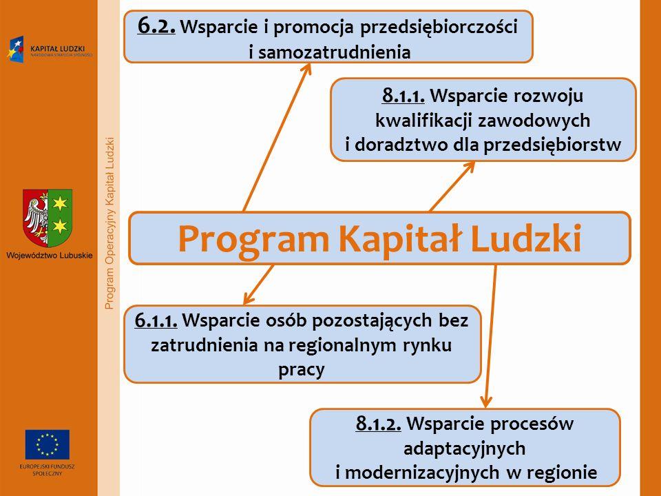 Program Kapitał Ludzki 6.2. Wsparcie i promocja przedsiębiorczości i samozatrudnienia 8.1.1.