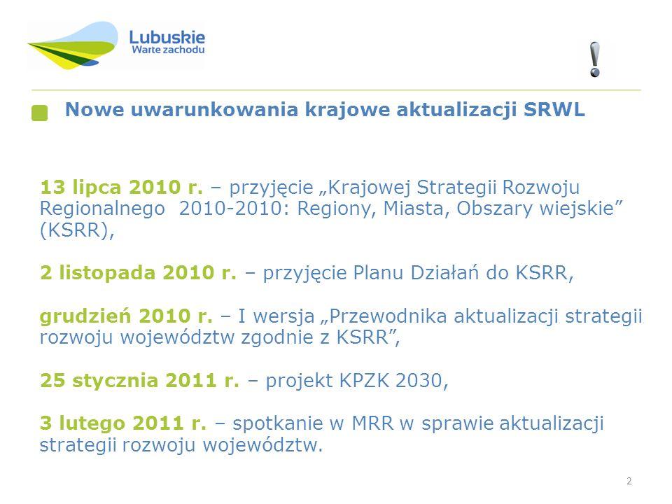 2 Nowe uwarunkowania krajowe aktualizacji SRWL 13 lipca 2010 r. – przyjęcie Krajowej Strategii Rozwoju Regionalnego 2010-2010: Regiony, Miasta, Obszar
