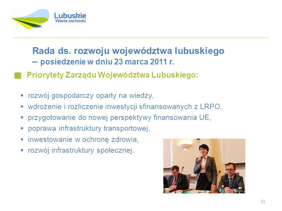 21 Rada ds. rozwoju województwa lubuskiego – posiedzenie w dniu 23 marca 2011 r. Priorytety Zarządu Województwa Lubuskiego: rozwój gospodarczy oparty