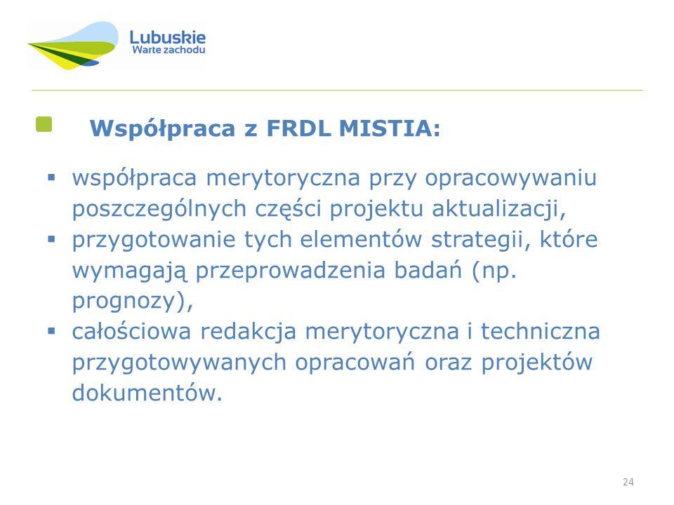24 Współpraca z FRDL MISTIA: współpraca merytoryczna przy opracowywaniu poszczególnych części projektu aktualizacji, przygotowanie tych elementów stra