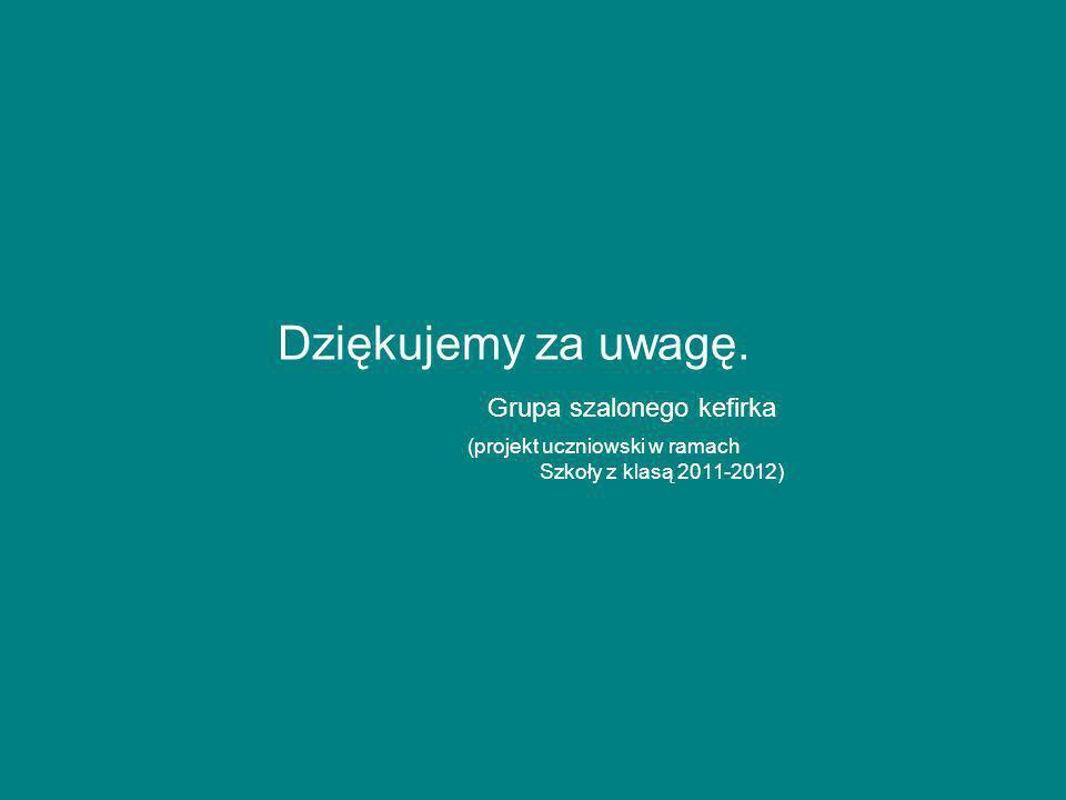 Dziękujemy za uwagę. Grupa szalonego kefirka (projekt uczniowski w ramach Szkoły z klasą 2011-2012)
