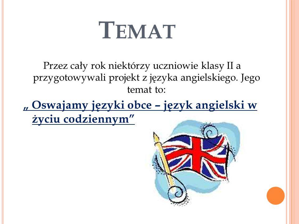 T EMAT Przez cały rok niektórzy uczniowie klasy II a przygotowywali projekt z języka angielskiego.