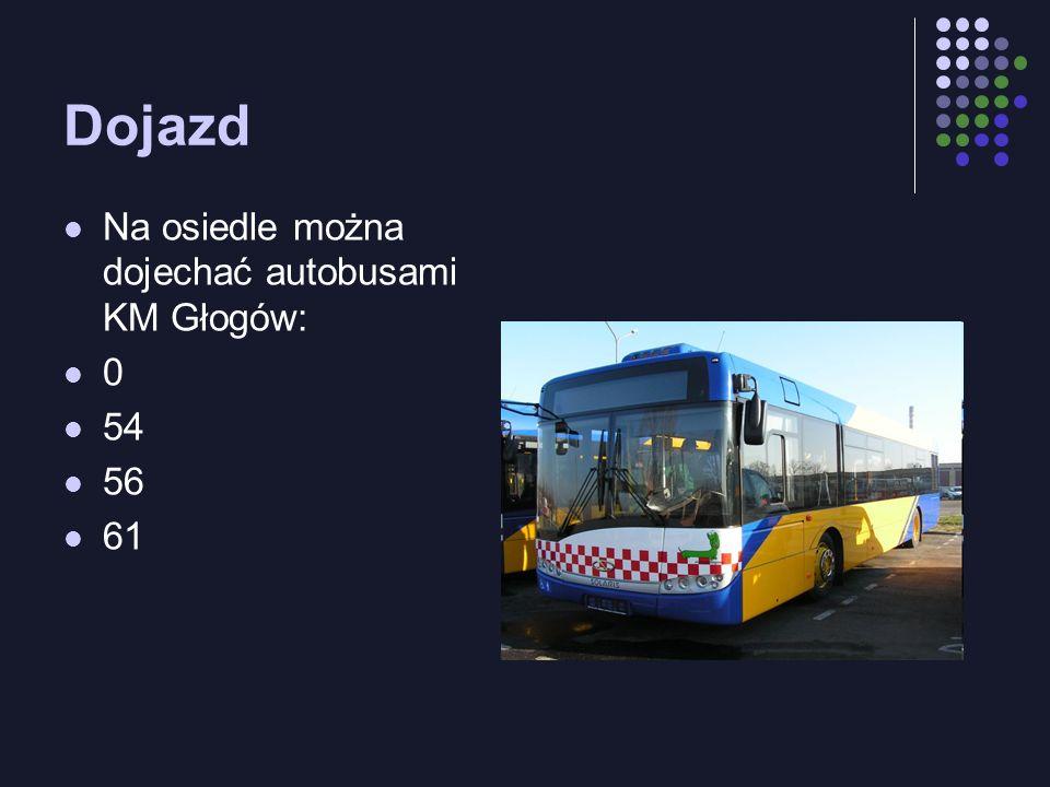 Dojazd Na osiedle można dojechać autobusami KM Głogów: 0 54 56 61