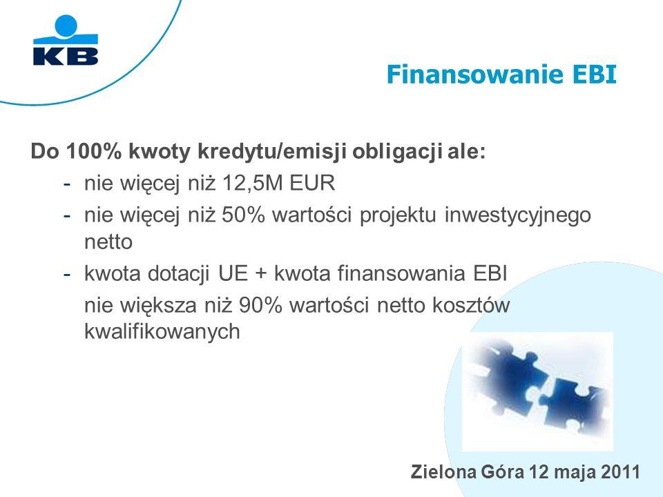 Zielona Góra 12 maja 2011 Finansowanie EBI Do 100% kwoty kredytu/emisji obligacji ale: -nie więcej niż 12,5M EUR -nie więcej niż 50% wartości projektu inwestycyjnego netto -kwota dotacji UE + kwota finansowania EBI nie większa niż 90% wartości netto kosztów kwalifikowanych