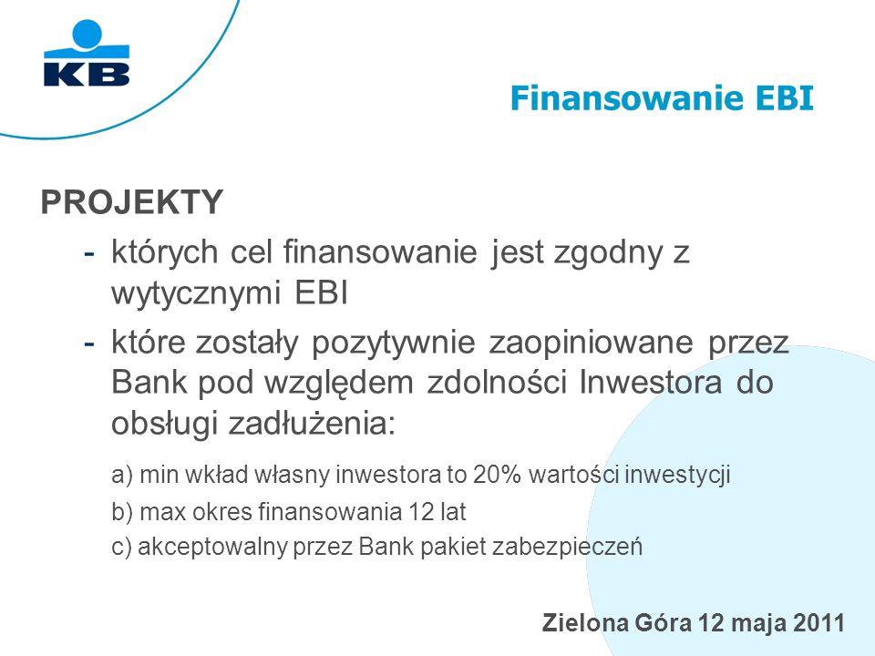 Zielona Góra 12 maja 2011 Finansowanie EBI PROJEKTY -których cel finansowanie jest zgodny z wytycznymi EBI -które zostały pozytywnie zaopiniowane przez Bank pod względem zdolności Inwestora do obsługi zadłużenia: a) min wkład własny inwestora to 20% wartości inwestycji b) max okres finansowania 12 lat c) akceptowalny przez Bank pakiet zabezpieczeń