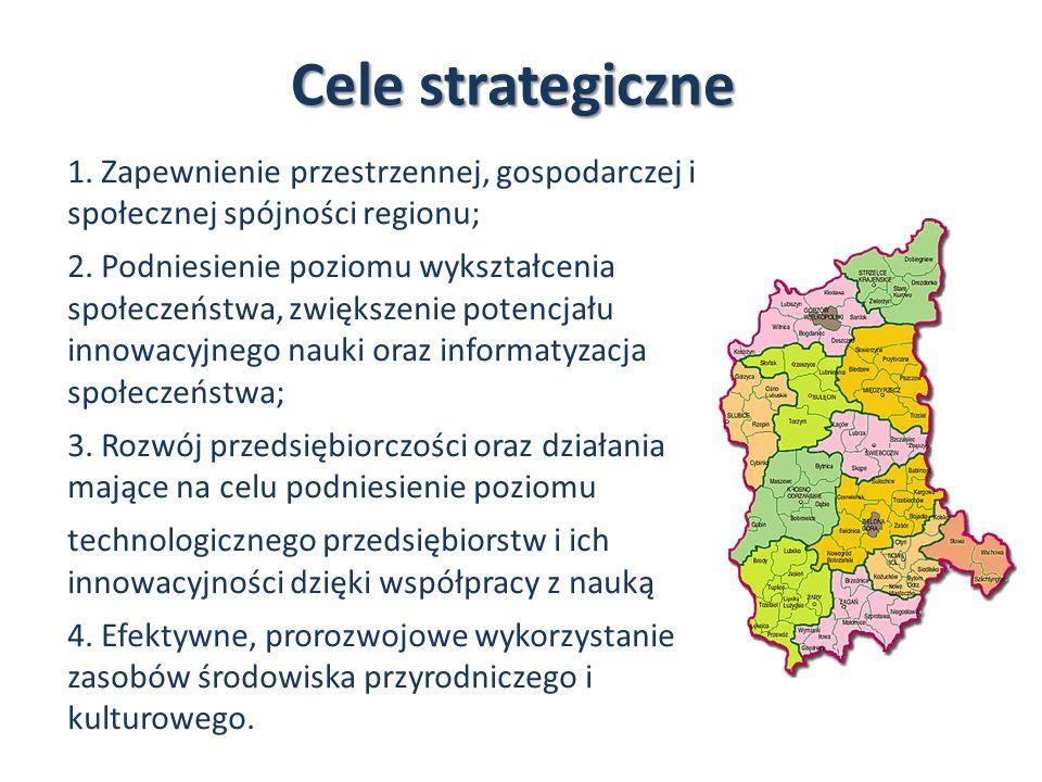 Cele strategiczne 1. Zapewnienie przestrzennej, gospodarczej i społecznej spójności regionu; 2. Podniesienie poziomu wykształcenia społeczeństwa, zwię