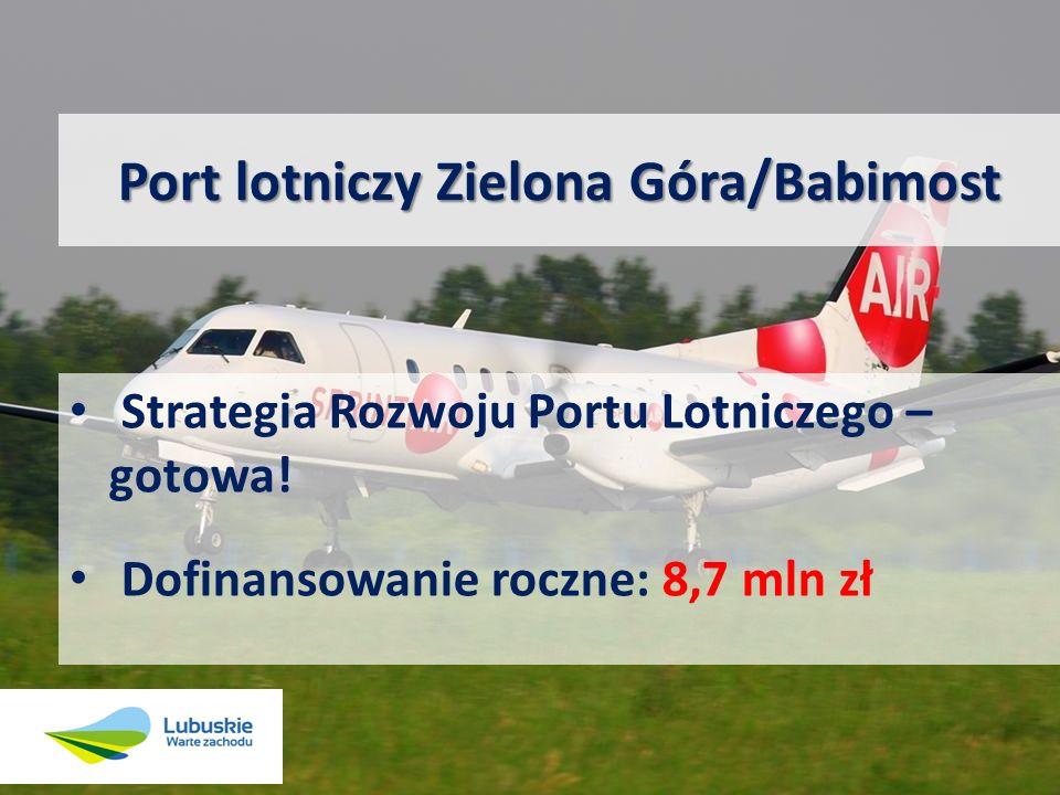 Port lotniczy Zielona Góra/Babimost Strategia Rozwoju Portu Lotniczego – gotowa! Dofinansowanie roczne: 8,7 mln zł