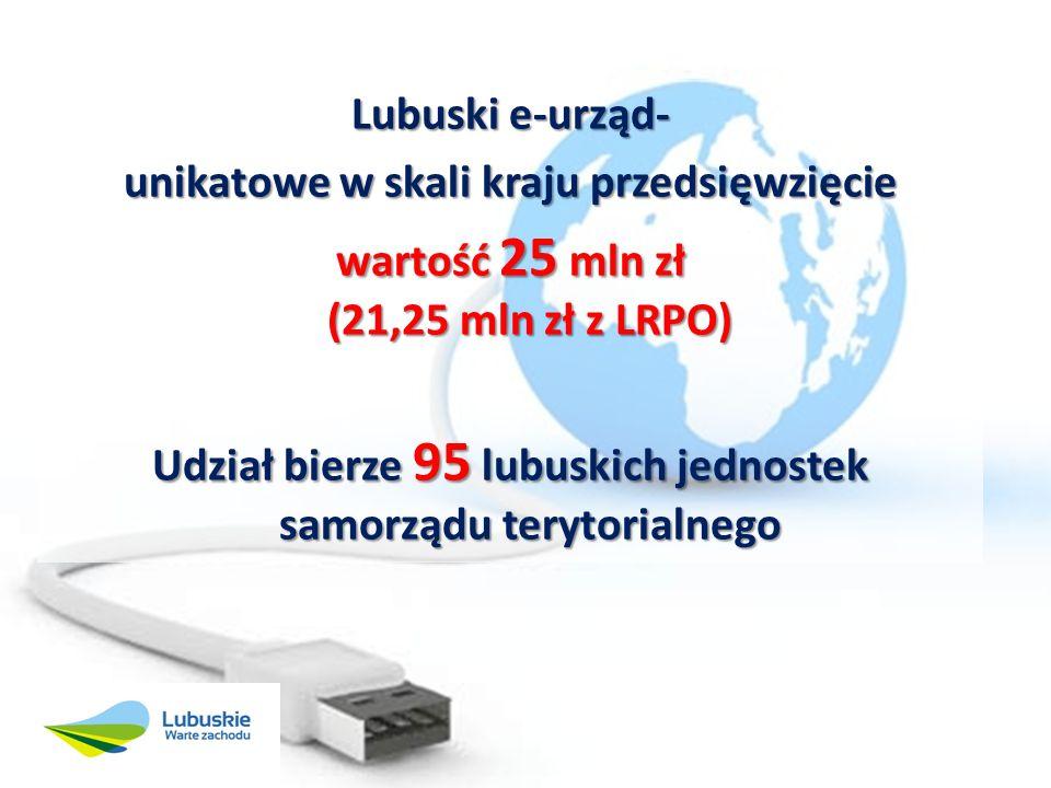 Lubuski e-urząd- unikatowe w skali kraju przedsięwzięcie wartość 25 mln zł (21,25 mln zł z LRPO) Udział bierze 95 lubuskich jednostek samorządu terytorialnego