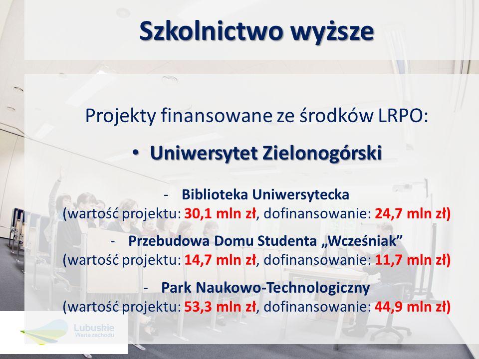 Szkolnictwo wyższe Projekty finansowane ze środków LRPO: Uniwersytet Zielonogórski Uniwersytet Zielonogórski -Biblioteka Uniwersytecka (wartość projek