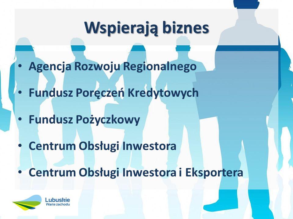 Wspierają biznes Agencja Rozwoju Regionalnego Fundusz Poręczeń Kredytowych Fundusz Pożyczkowy Centrum Obsługi Inwestora Centrum Obsługi Inwestora i Eksportera